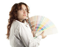 Thinking Woman with Color Swatch Royalty Free Stock Images