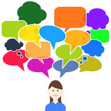 Thinking woman colorful speech bubbles. Thinking woman with colorful speech bubbles Stock Photography