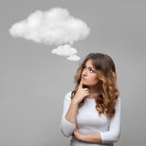 Thinking woman and empty cloud stock photo