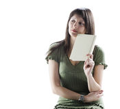 Thinking woman holding a book Royalty Free Stock Photos