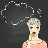 Thinking woman holding pencil Royalty Free Stock Images