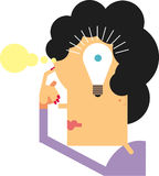 Thinking woman idea. Woman thinking puts her finger to her head, thought bubbles emerge from her forehead, and bright light bulb forms around her eye as a good Royalty Free Stock Image