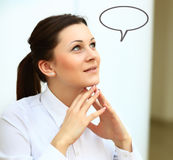 Thinking woman with idea in empty Stock Photo
