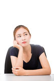 Thinking woman isolated on white background Royalty Free Stock Image
