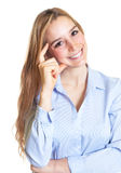 Thinking woman with long blond hair looking at camera Royalty Free Stock Images