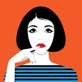 Thinking woman looking up vector illustration