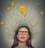 Thinking woman with question signs and light idea bulb above head looking up Royalty Free Stock Image