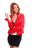 Thinking woman in red Stock Photos