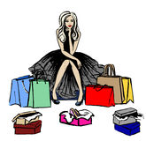 Thinking woman in shop. Fashion illustration of thinking woman in shop with shopping bags and boxes with shoes. Hand drawn ink sketch isolated on white. Clip art Royalty Free Stock Image