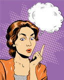 Thinking woman with speech bubble. Vector illustration in retro pop art comic style.  Royalty Free Stock Photography