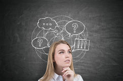 Thinking woman and speech bubbles. Close up of a thinking blond woman standing near a blackboard with speech bubbles drawn on it. Concept of communication Stock Images