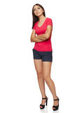 Thinking woman standing in full body Stock Image