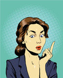 Thinking woman. Vector illustration in retro pop art comic style Stock Photography