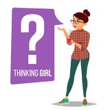 Thinking Woman Vector. Question Sign In Think Bubble. Female Think And Find Answer. Isolated Flat Cartoon Character. Thinking Woman Vector. Question Sign In Royalty Free Stock Images