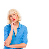 Thinking woman in white wig. Royalty Free Stock Photography