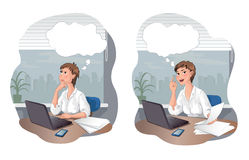 Thinking woman and woman with idea on the office Stock Images