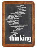 Thinking word cloud on blackboard Royalty Free Stock Photography