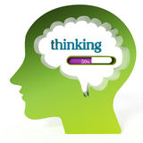 Thinking word and loading bar iin the brain. 3D illustration.  Royalty Free Stock Photography