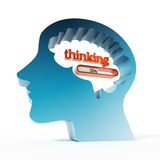 Thinking word and loading bar iin the brain. 3D illustration.  Royalty Free Stock Images