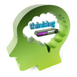 Thinking word and loading bar iin the brain. 3D illustration.  Royalty Free Stock Image