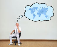Thinking about world map Royalty Free Stock Photo