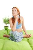Thinking about yoga at home Stock Photos