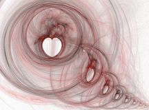 Thinking about you... Multiple hearts in a string, white background stock illustration