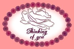 Thinking of you card vector illustration