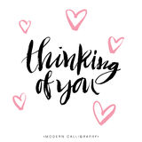 Thinking of you. Modern brush calligraphy. Handwritten lettering. Stock Photo
