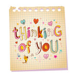 Thinking of you - notepad paper love message Royalty Free Stock Photo