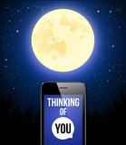 Thinking of You. Romantic poster with night scene, full moon and Royalty Free Stock Photography
