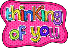 Thinking of You Stitch Text Royalty Free Stock Image