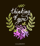 Thinking of you. Vector brush calligraphy. Handwritten ink lettering. Hand drawn design. royalty free illustration