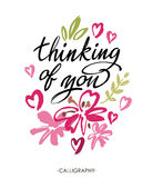 Thinking of you. Vector brush calligraphy. Handwritten ink lettering. Hand drawn design. Royalty Free Stock Photos