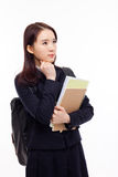 Thinking young Asian student Royalty Free Stock Photo