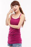 Thinking young Asian woman. Royalty Free Stock Images