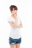 Thinking young Asian woman Royalty Free Stock Images