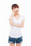 Thinking young Asian woman Royalty Free Stock Photo