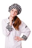 Thinking young cook female isolated on the white Stock Photos