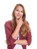 Thinking young girl is happy Stock Photography
