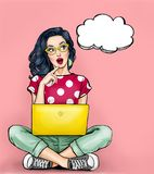 Thinking young woman with open mouth looking up on empty bubble sitting with laptop. vector illustration