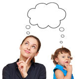 Thinking young woman and cute child Stock Photo