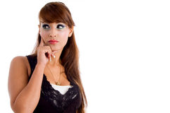 Thinking Young Woman Looking Aside Stock Images