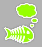 Thinkink green fish bone stickers Stock Photo