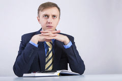 He thinks about the business. Royalty Free Stock Photo