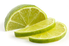 Thinly cut lime slices stock images