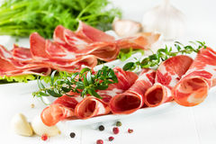 Thinly sliced ​​ham Stock Images