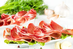 Thinly sliced ​​ham Stock Image