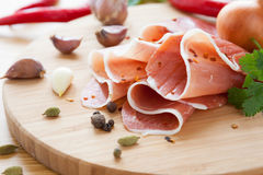 Thinly sliced ​​Spanish jamon Stock Photography