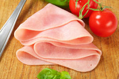 Thinly sliced ham Royalty Free Stock Photos